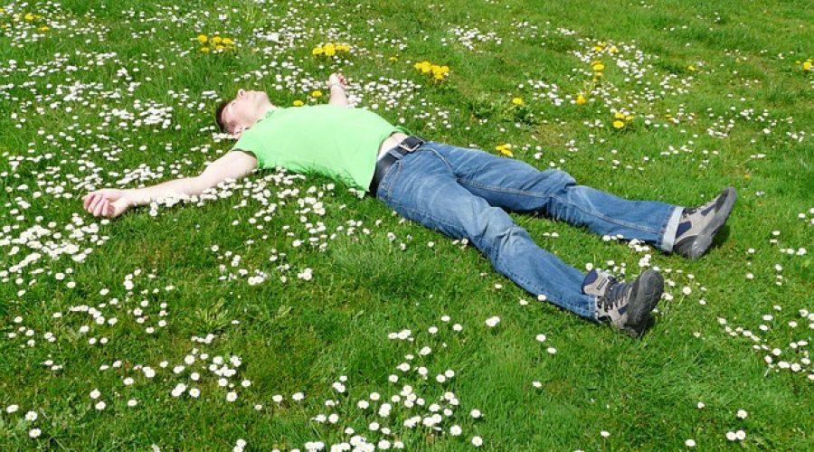 Man lying in grass